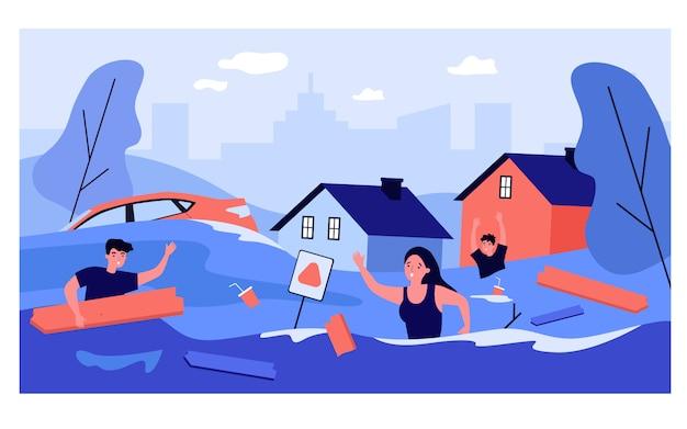 Gente asustada en la calle suburbana inundada