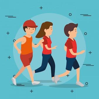 Gente atlética practicando ejercicios de personajes