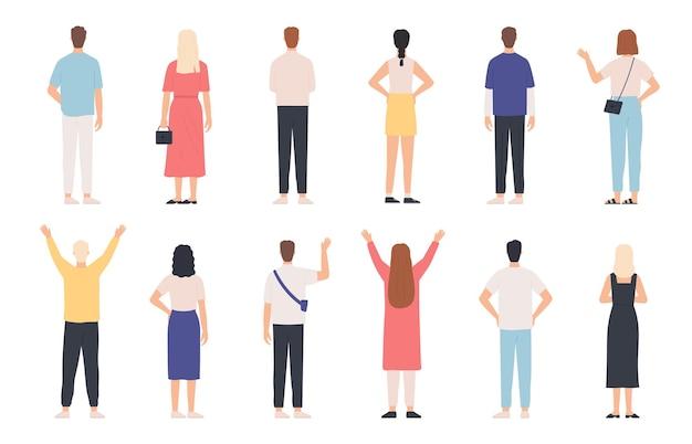 Gente de atrás. poses de pie de vista trasera de hombre y mujer adultos. persona feliz con las manos arriba y saludando. trasera humana en ropa vector set. personajes femeninos y masculinos en atuendo casual.