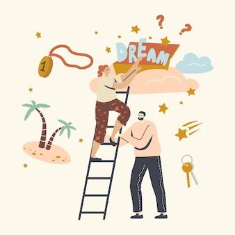 La gente se atreve a tomar la estrella del cielo, el logro de la aspiración y la motivación. Vector Premium