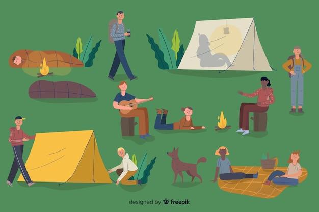 Gente aventurera acampando diseño plano