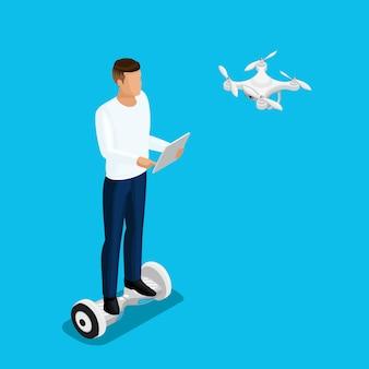 Gente de aviones no tripulados isométricos, un hombre jugando un juego, vuelo en quadcopter