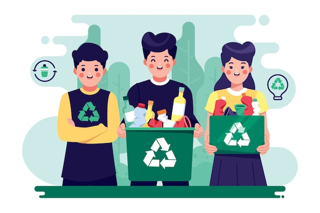 Gente ayudando al planeta y reciclando