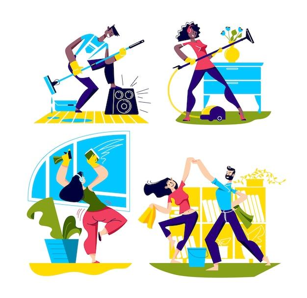 La gente baila limpiando la casa. conjunto de personajes de dibujos animados bailando mientras hace las tareas del hogar.