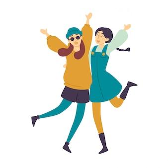 Gente bailando, bailarinas asiáticas chicas divirtiéndose.