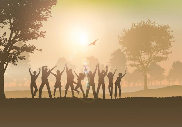 Gente bailando en el campo