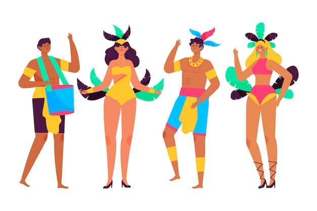 Gente bailando carnaval brasileño pasando tiempo juntos