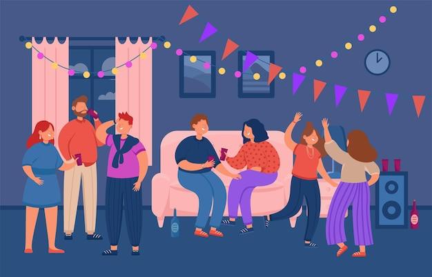Gente bailando en casa fiesta ilustración plana