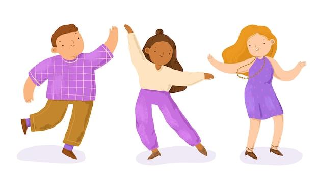 Gente bailando dibujada a mano