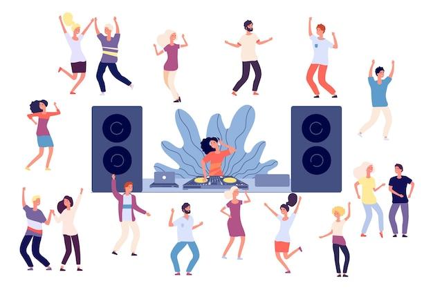 Gente bailando. fiesta discoteca dj, baile mujeres, hombres y parejas.