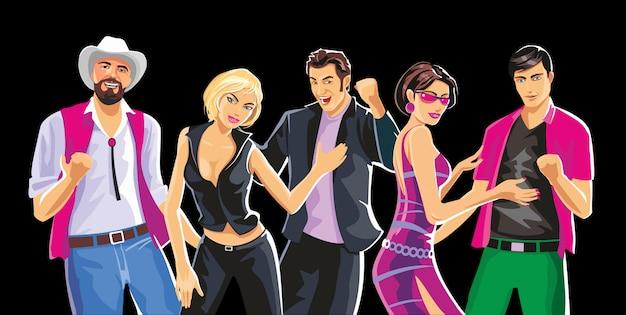 Gente bailando en la fiesta. ilustración de color plano