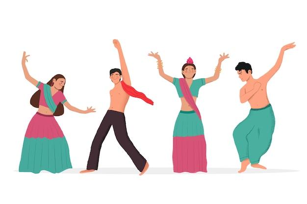 Gente bailando ilustración de bollywood