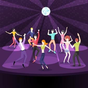 Gente bailando en la ilustración de la discoteca