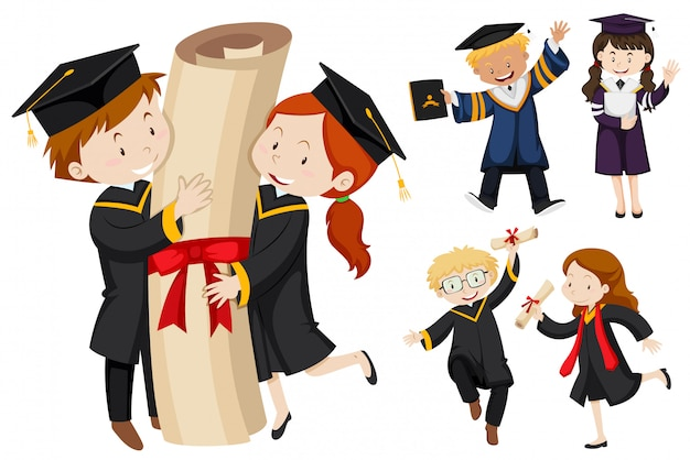 La gente en bata de graduación