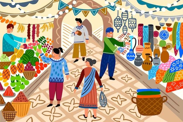 Gente en bazar árabe