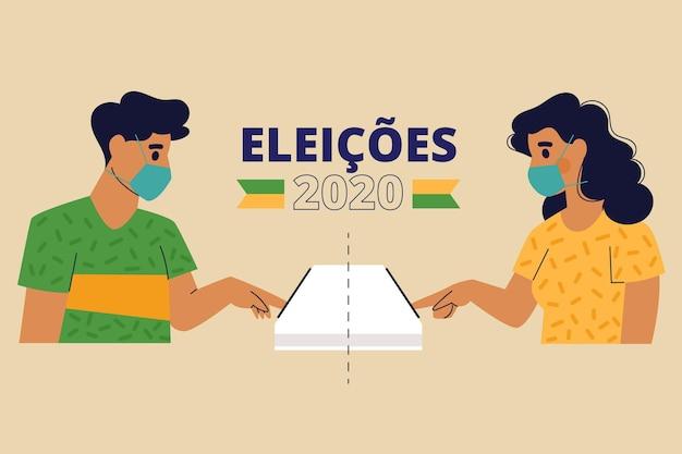 Gente de brasil cola de votación con mascarilla