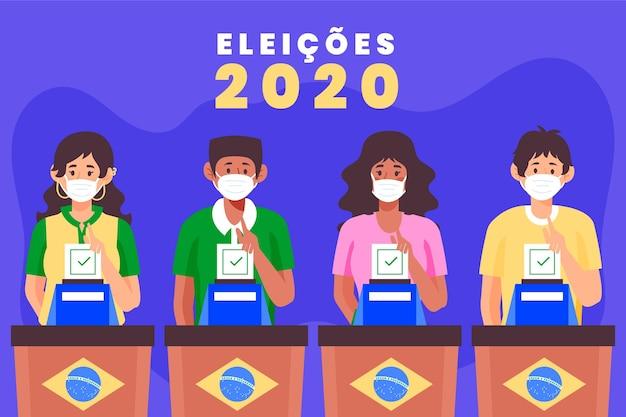 Gente de brasil votando y usando máscara médica