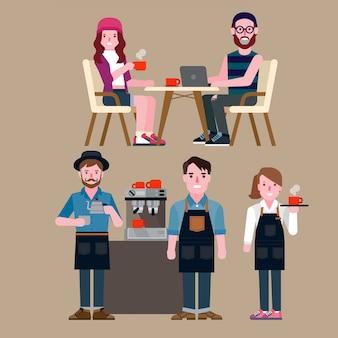 Gente en una cafetería
