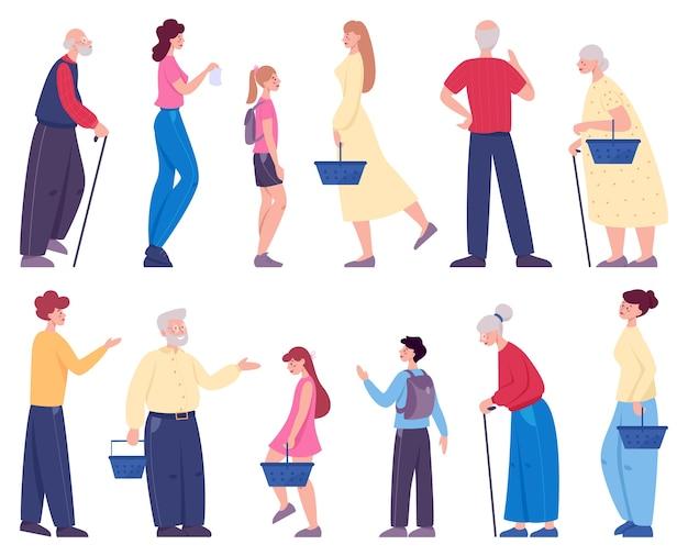Gente caminando con carrito de compras en el supermercado. personaje con canasta en la tienda.