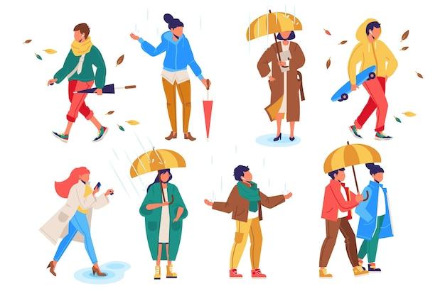 Gente caminando en la colección de otoño