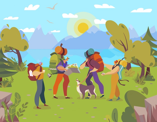 Gente caminando con mochilas, personajes de dibujos animados trekking en la naturaleza, aventura al aire libre, ilustración