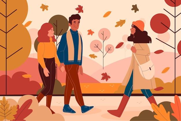 Gente caminando en otoño