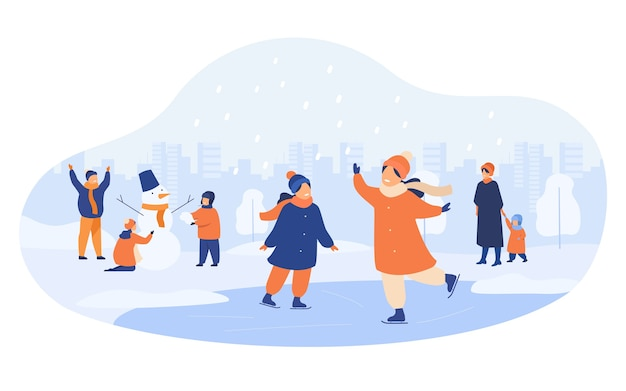 Gente caminando en el parque de invierno aislado ilustración vectorial plana. dibujos animados de hombres, mujeres y niños patinando sobre hielo y haciendo muñeco de nieve.