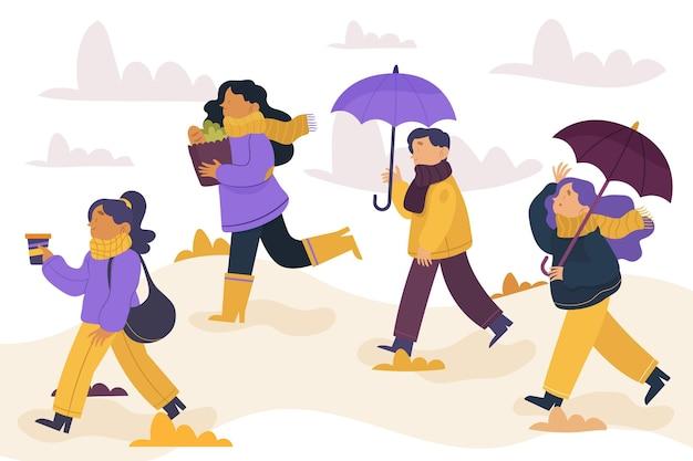 Gente caminando en el parque