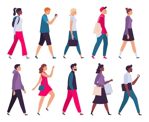 Gente caminando. perfil de hombres y mujeres, persona a pie de vista lateral y personajes de caminantes conjunto de ilustraciones vectoriales