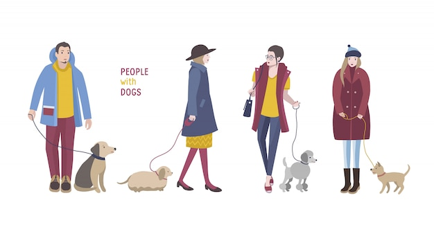 Gente caminando con perros. colorida ilustración plana.