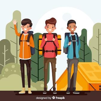 Gente en un camping estilo plano
