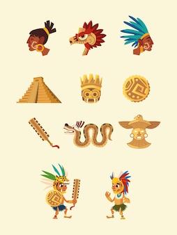Gente de carácter azteca serpiente pirámide arma cultura nativa iconos ilustración
