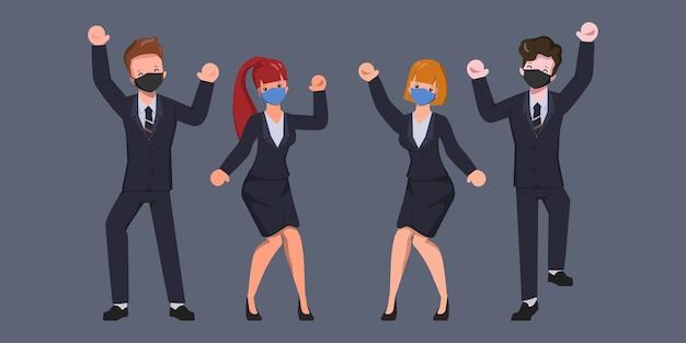 Gente de carácter empresarial con mascarilla alegre trabajo en equipo.