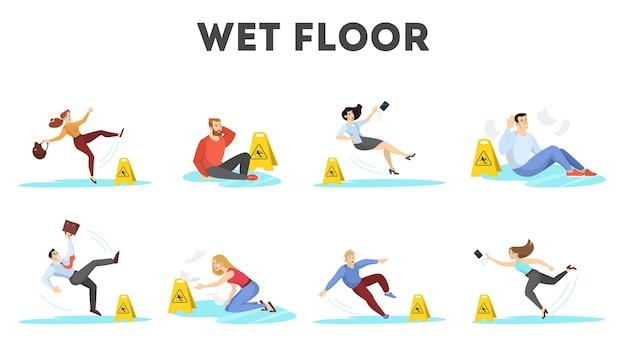 Gente cayendo sobre el piso mojado. señal de precaución