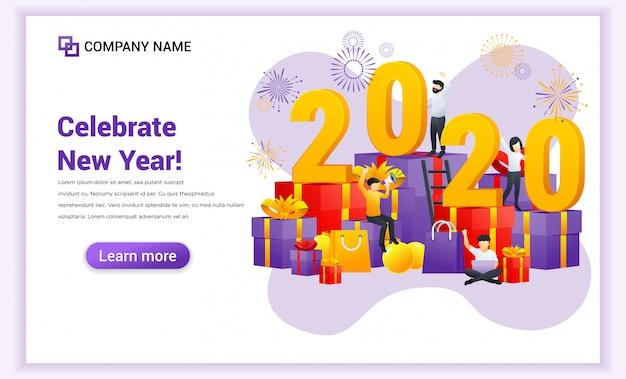 La gente celebra el año nuevo en grandes cajas de regalo y gran símbolo número 2020 banner