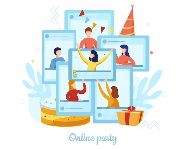 La gente celebra cumpleaños de forma remota desde casa, ilustración vectorial plana. fiesta online, tecnología de videoconferencia.