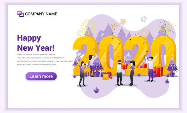 La gente celebra el nuevo año 2020 con pancartas de regalos y fuegos artificiales