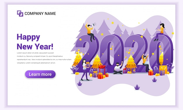 Gente celebrando el año nuevo con banner de decoración, regalos y fuegos artificiales