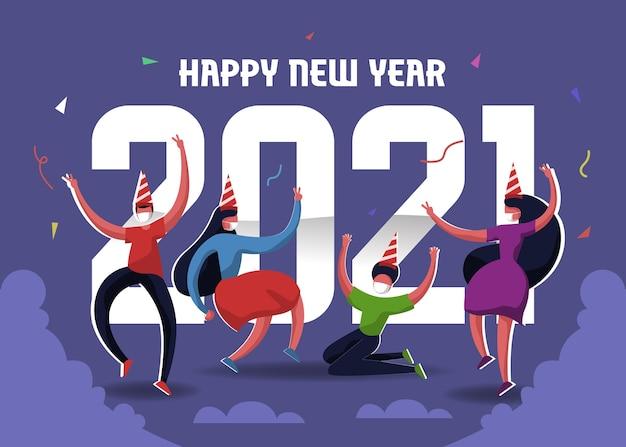La gente está celebrando el año nuevo en una fiesta privada y usa mascarilla para evitar la propagación del virus.