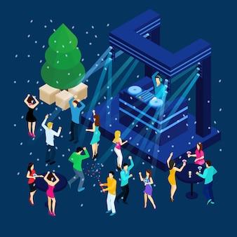 Gente celebrando el año nuevo ilustración