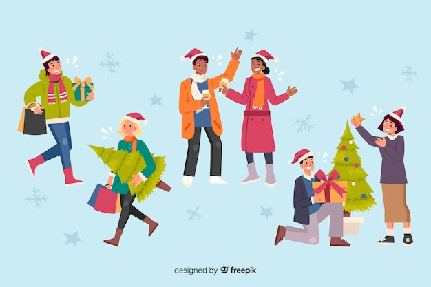 Gente celebrando la colección de dibujos animados de navidad