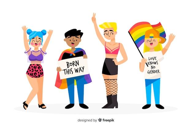 Gente celebrando el día del orgullo lgbt dibujado a mano