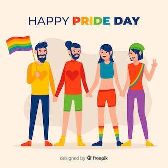 Gente celebrando el día del orgullo lgbt