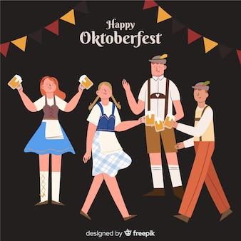 Gente celebrando el estilo plano del oktoberfest