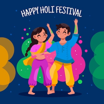 Gente celebrando el festival holi