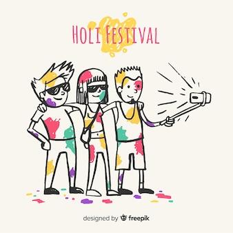 Gente celebrando holi festival dibujado a mano