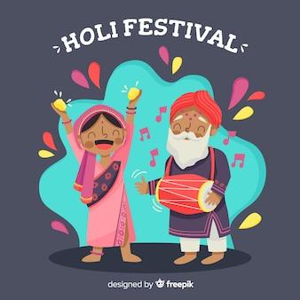 Gente celebrando el holi festival