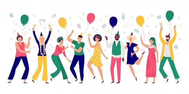 Gente celebrando hombres y mujeres jóvenes bailan en la fiesta de celebración, globos alegres e ilustración de confeti