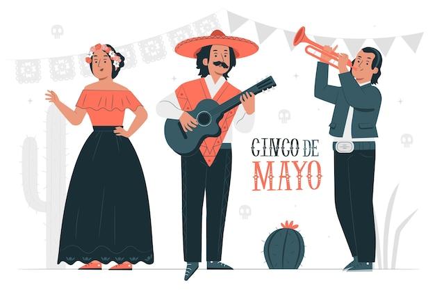 Gente celebrando la ilustración del concepto de cinco de mayo