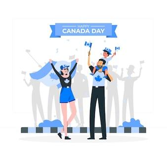 Gente celebrando la ilustración del concepto del día de canadá